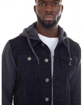 Cazadora combinada capucha negra BRS